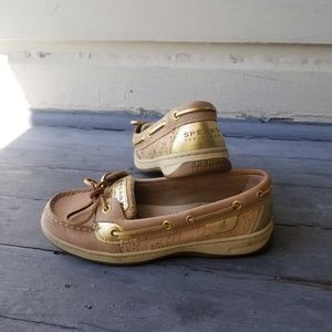 Gold Sperry Top Sider Boat Shoes